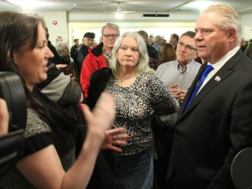 PC leadership candidate Doug Ford speaks with supporters during a meet and greet in Lindsay Wednesday evening.
