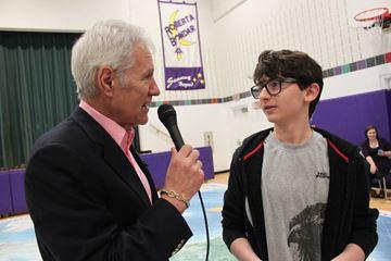 Alex Trebek visits Roberta Bondar Public School