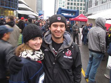 Thornhill's Courtney McLaughlin, with her boyfriend Kevin Halford, was thrilled to take in the action of a tailgate party and the Buffalo Bills game in Toronto yesterday — only the second NFL football game she's ever attended.