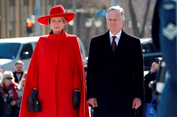 King Philippe and Queen Mathilde of Belgium stand at a wreath laying ceremony at the Tomb of the Unknown soldier at the at the National War Memorial in Ottawa on Monday, March 12, 2018. THE CANADIAN PRESS/ Patrick Doyle
