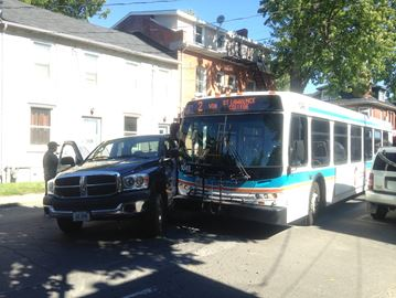 Truck vs bus collision on Bagot