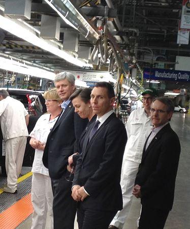 Prime Minister Stephen Harper touring Honda in Alliston