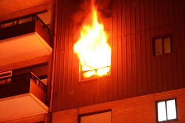 Burlington firefighters were called to an apartment fire at 455 Maple Ave. early Saturday. Heavy flames are seen coming out a window.