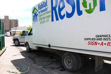Staff arrived at ReStore on Thursday July 17 to find the facilities' truck damaged and the gas siphoned out of it, the latest in a number of thefts and break-in attempts at the facility.