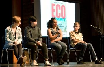 "Youth Eco Summit at Mohawk College ""Eco Heroes"" include from left, Lily Mae Peters, Grade 11, Oliver Tessier, Grade 8, Ryerson Public School, Paulina Szczepanski, Grade 10, St. Jean de Brebeuf Catholic Secondary and Nicholas Bullard, Grade 8, St. Marguerite d'Youville Catholic Elementary."