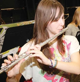 South Carleton High School student Darcy Mitchell plays in the band-a-thon at the school in Richmond last Friday.
