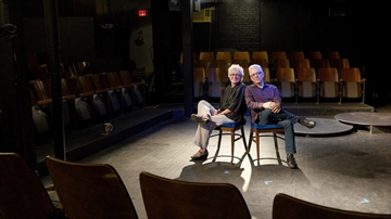 Barbara Milne and Gary Santucci in the theatre at The Pearl Company, which they have announced will be closing. They opened the doors of the creative space in 2006.