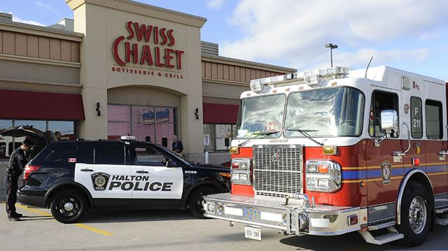 Car strikes Swiss Chalet on Wyecroft and Burloak in Oakville