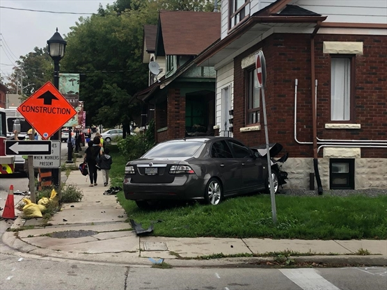 Car crashes into house in downtown Kitchener
