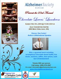Chocolate Lovers Luncheon for the Alzheimer Society of Durham Region