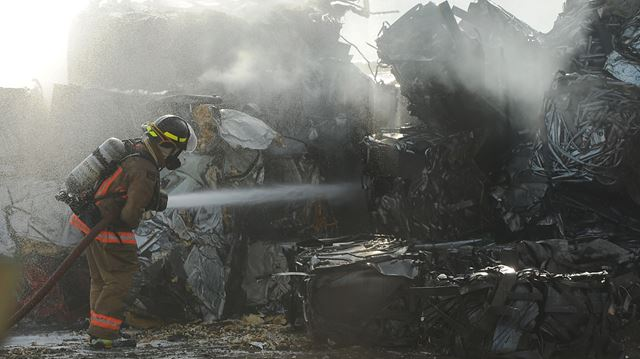 Burlington Firefighters douse scrap metal blaze