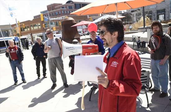 Labour Council President Marc Xuereb speaks at $15 and Fairness Launch event in Waterloo