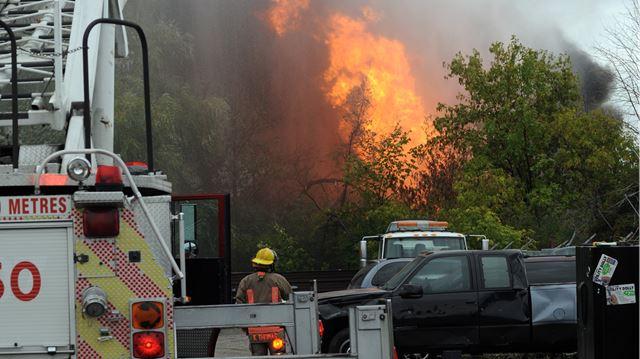 Scrapyard fire on Mavis Road