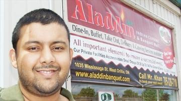 Fundraiser for flood victims for Aladdin indian cuisine orillia