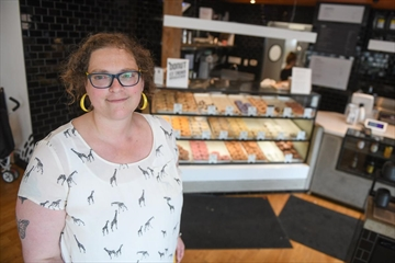 Sue Littleton, operations manager with Donut Monster, inside the Locke Street donut shop. Donut Monster's policy is to not give free product to so-called social media influencers in exchange for exposure on the influencers' social media accounts.