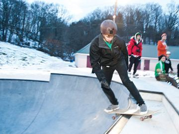 The town officially opened the Isaac Riehl Memorial Skate Park on Monday. BMX biker Travis Robbins took the chance to try out the newly-minted terrain
