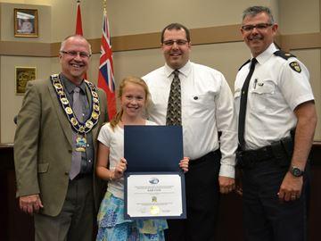 Penetanguishene girl gets award for community safety petition