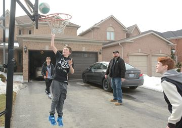 Shooting hoops with friends