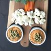 Roasted squash hummus with holiday tree veggies