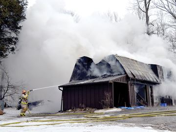 Shed fire in Scugog