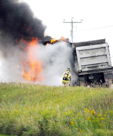 Dump truck fire in Innisfil