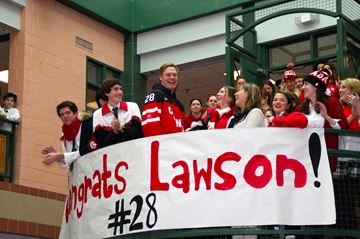 Lawson Crouse was greeted by a sea of students dressed in red and white in honour of his return after winning World Juniors Gold.