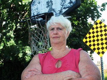 Fighting for basketball net for kids