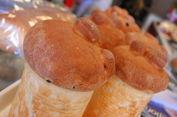 Paska bread on display at Nana's Bakery April 17.