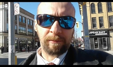 White power activist Kevin Goudreau posted this self-portrait, taken in downtown Peterborough, to his Twitter account Sunday.