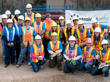 Nearly two dozen Metroland Media employees were at Habitat for Humanity Halton's latest Oakville build site on Pembroke Drive. To help build the home. Metroland Media is among many local businesses supporting Habitat.Riziero Vertolli, Metroland Media Group