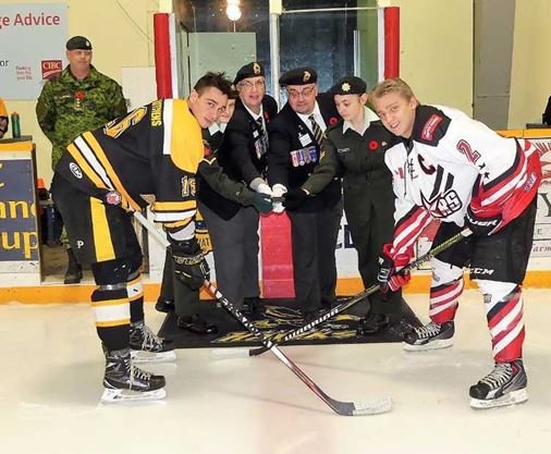 CEREMONIAL PUCK DROP AT THE HAWKS GAME:
