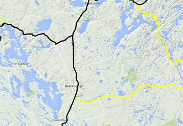 Black lines mean bare to wet roads while yellow indicates partially snow covered