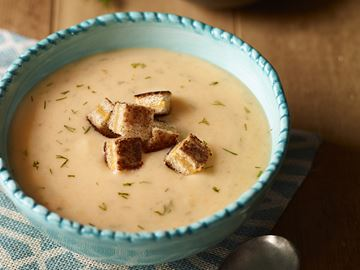 Potato soup with cheddar croutons great on a cold day