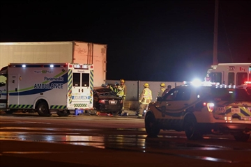 The driver of a black Acura is dead after his car crashed into a park tractor trailer on the Toronto-bound QEW at the Vineland scales Wednesday.