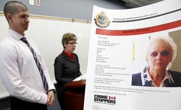 City police respond to questions from reporters regarding missing person Lise Fredette, last seen at Chemong Walmart.