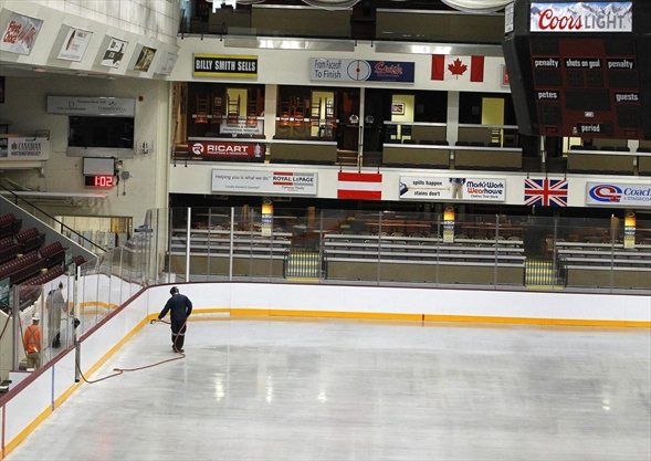 Ice going in after Memorial Centre floor repairs completed