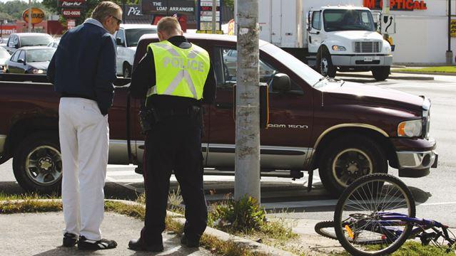 Pickup truck vs. cyclist