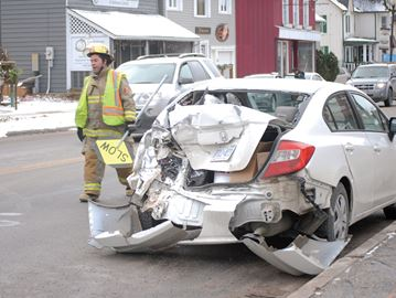 Truck rear-ends car in Cookstown