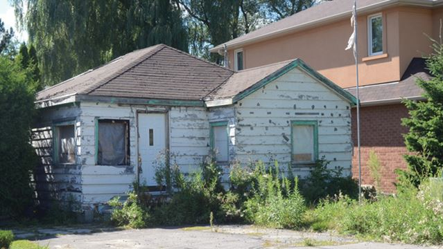 Boarded-up home