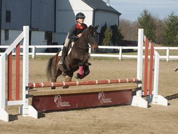 Ruth Rundberg, atop horse Lou, makes a leap at Gardiner Equestrian in Beamsville.