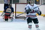 Simon Berghlind celebrates after scoring one of his two goals in a win over the Rock Friday night.