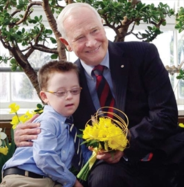 Seven year-old cancer patient Michael Meehan helped kick offthe Canadian Cancer Society's Daffodil Campaign on April 1 with Governor General David Johnston. The campaign sells daffodil pins and fresh daffodils to help raise funds for cancer research.