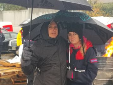 Joseph Trottier and Crystal De Luca, spokespeople for Newmarket postal workers local 573, picket outside post office facility off Mulock Drive in Newmarket Nov. 6 during a rotating strike.