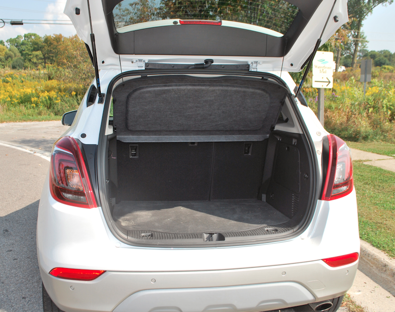 buick encore back seat. the buick encore premium has 538 litres of space in rear but be warned it is a tight fit for any large items such as golf clubs back seat