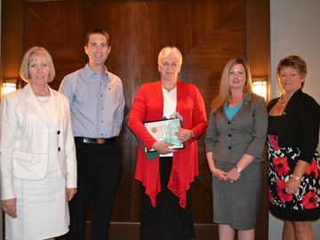 The Small Business Award was presented to The UPS Store on behalf of TD Canada Trust. Small Business Advisor Mary Gibson, Commercial Relationships Manager Brad Miller, UPS Store owner Mary-Ann Biersteker, Branch Manager Chrystal Robertson, Area Manager for Small Business Banking Karen Ritchie.