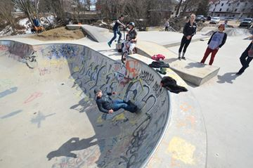 Joel Ketch performs some impressive moves inside the bowl at the Bracebridge Bike Park on Sunday, April 20.