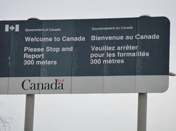 Welcome to Canada sign at Ogdensburg-Prescott International Bridge
