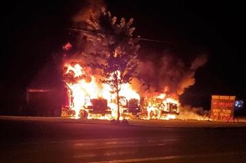 Three trucks were found ablaze on a Highway 6 property north of Caledonia Saturday morning.
