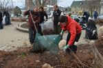 Cleaning up outside city hall in Brockville
