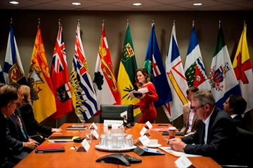 Minister of Foreign Affairs Chrystia Freeland leads the NAFTA council in discussion on the modernization of the North American Free Trade Agreement, in Toronto on Friday, September 22, 2017. THE CANADIAN PRESS/Christopher Katsarov